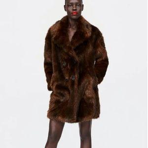 Zara Women Faux Fur Coat